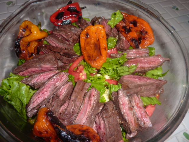 Grilled Skirt Steak and Pepper Salad | Kelsey Cooks In Cleveland
